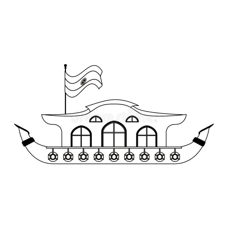 在黑白的印度恒河驳船象动画片 向量例证