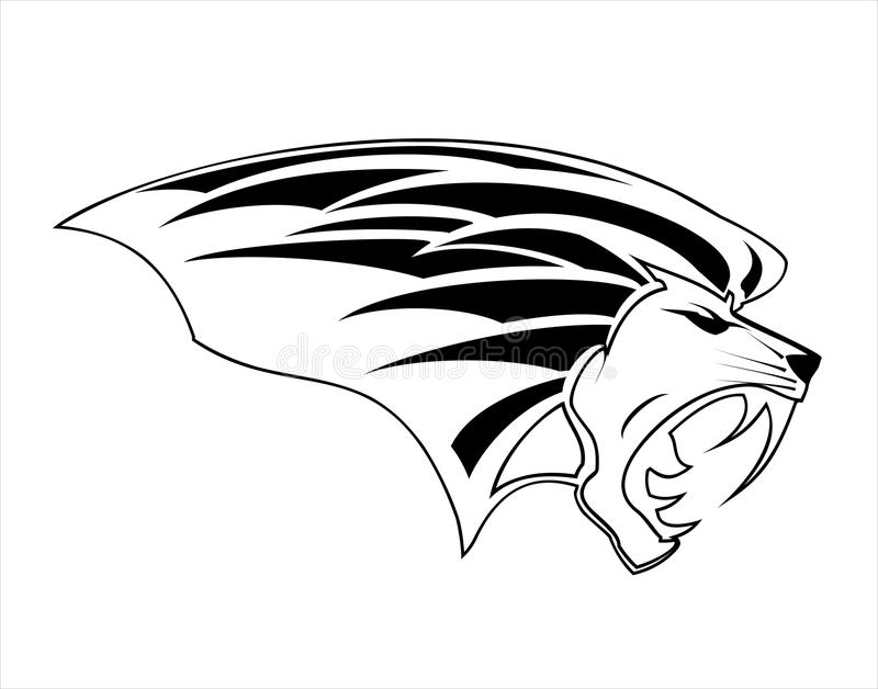 在黑白的恼怒的狮子头吉祥人 皇族释放例证