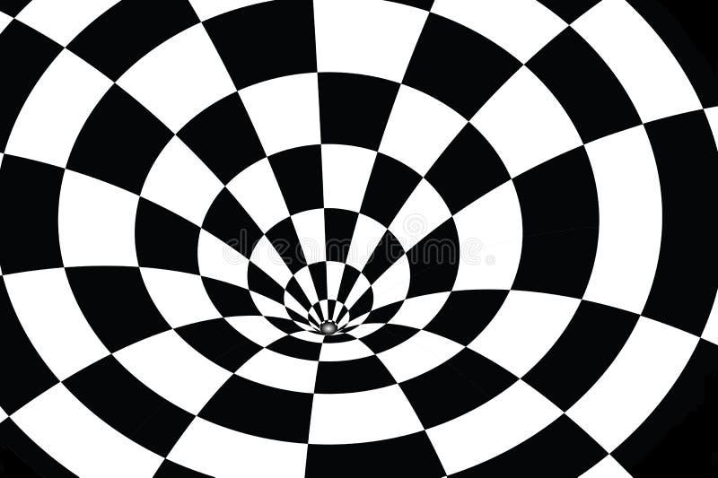 在黑白的方格的漩涡 库存照片