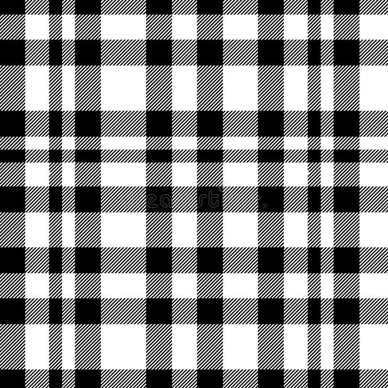 在黑白的格子呢无缝的样式 格子花呢披肩的,桌布,衣裳,衬衣,礼服,纸,卧具,毯子纹理, 向量例证