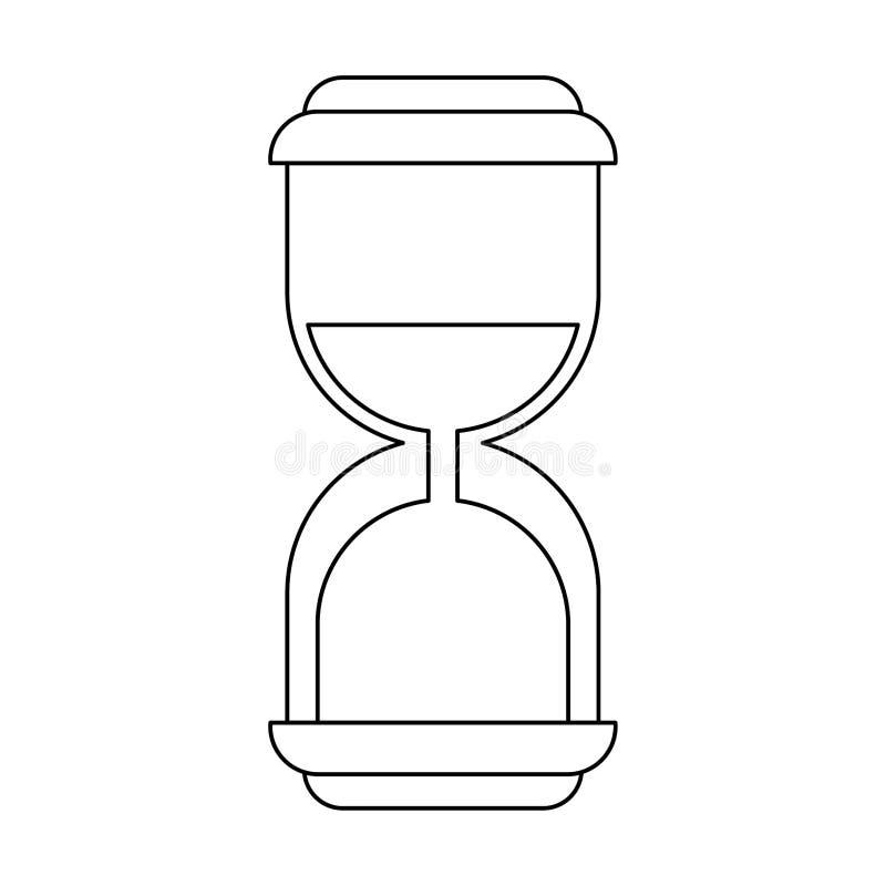 在黑白的滴漏古色古香的定时器标志 库存例证