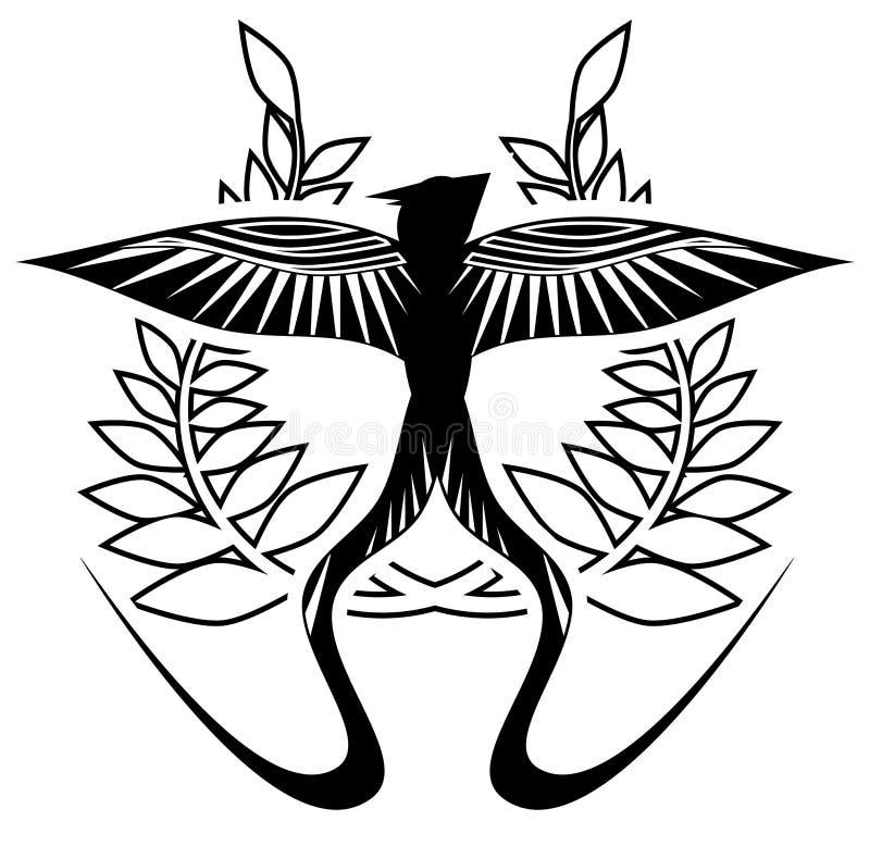 在黑白的燕子与叶子冠,被隔绝 皇族释放例证