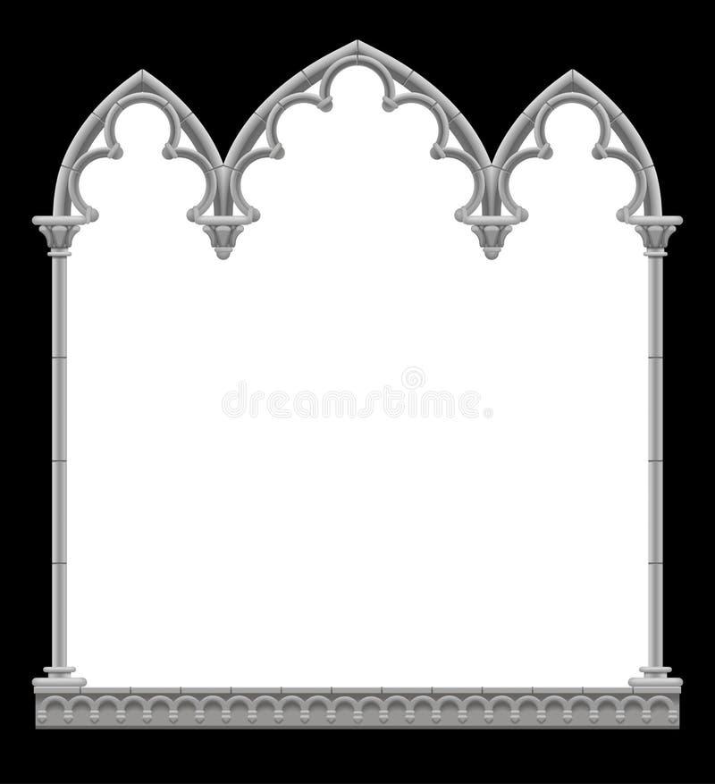 在黑白的经典哥特式建筑装饰框架 皇族释放例证