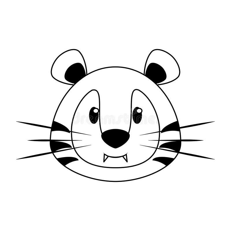 在黑白的老虎顶头野生生物逗人喜爱的动物动画片 皇族释放例证
