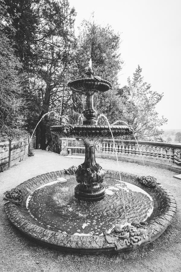 在黑白的观点的乌龟喷泉 图库摄影