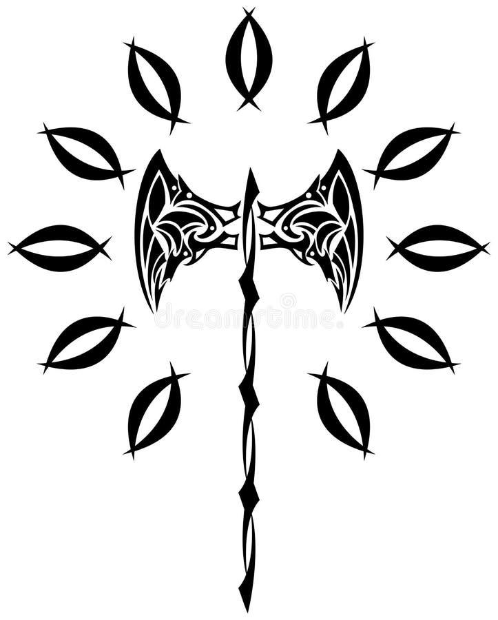 在黑白的风格化轴被隔绝的 向量例证