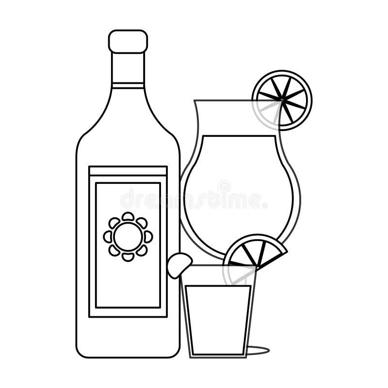 在黑白的龙舌兰酒墨西哥饮料 向量例证