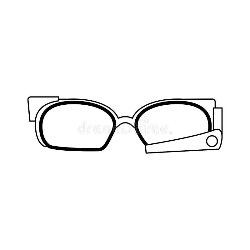 在黑白的Smartglasses便携的技术 向量例证