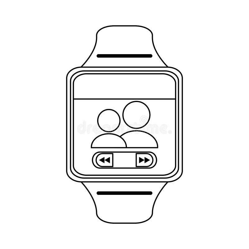 在黑白的Smartwatch便携的技术 皇族释放例证