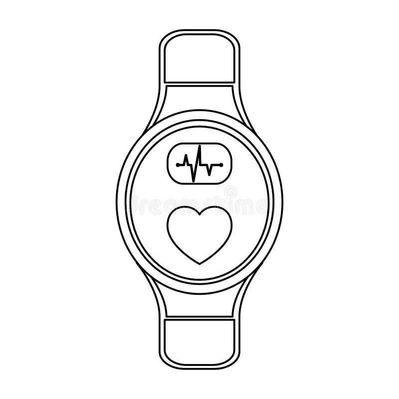在黑白的Smartwatch便携的技术 库存例证