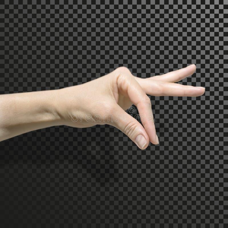 在黑白色透明背景的女性手与阴影 拇指和食指被装配入少量 Commu 图库摄影