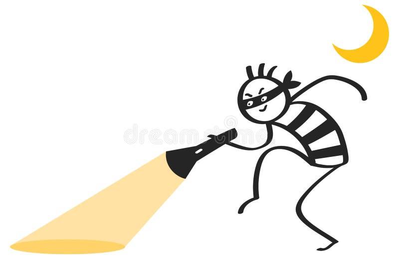 在黑白镶边衬衣的恶意看的棍子形象夜贼拿着手电蹑手蹑脚地走整晚的图片