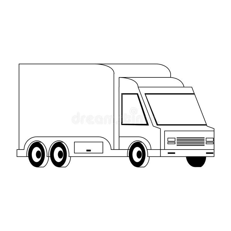 在黑白隔绝的送货车运输的车 向量例证