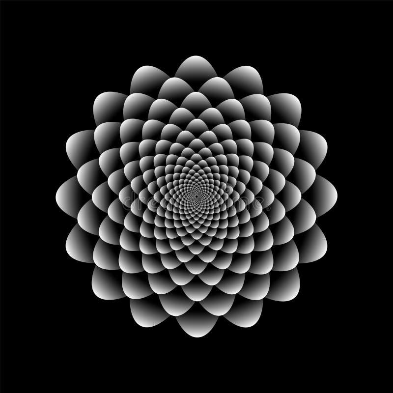 在黑白颜色的向日葵摘要花卉样式设计 库存例证