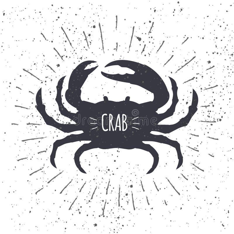 在黑白颜色的手拉的螃蟹象有织地不很细背景 餐馆菜单的海洋新鲜食品商标 向量例证
