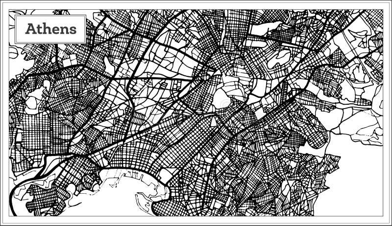 在黑白颜色的雅典希腊地图 向量例证