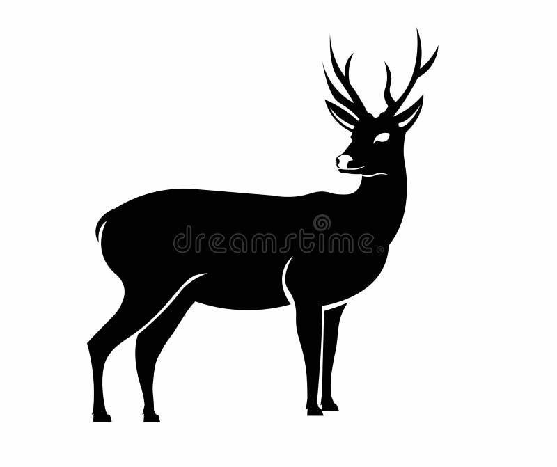 在黑白颜色的鹿例证 库存图片