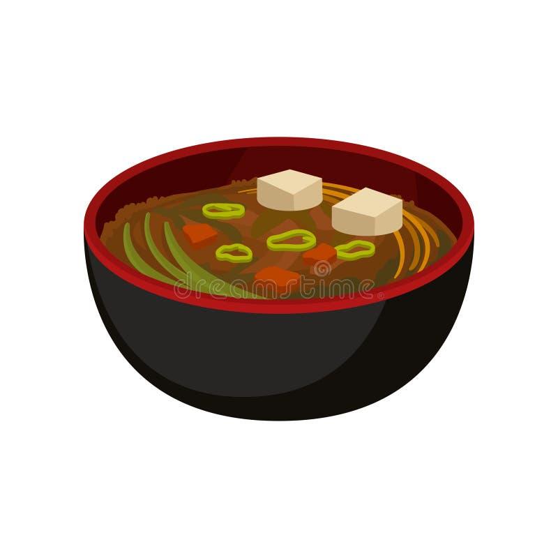 在黑碗的可口大酱汤 传统日本盘 电视节目预告海报、咖啡馆或者餐馆的平的传染媒介元素 向量例证