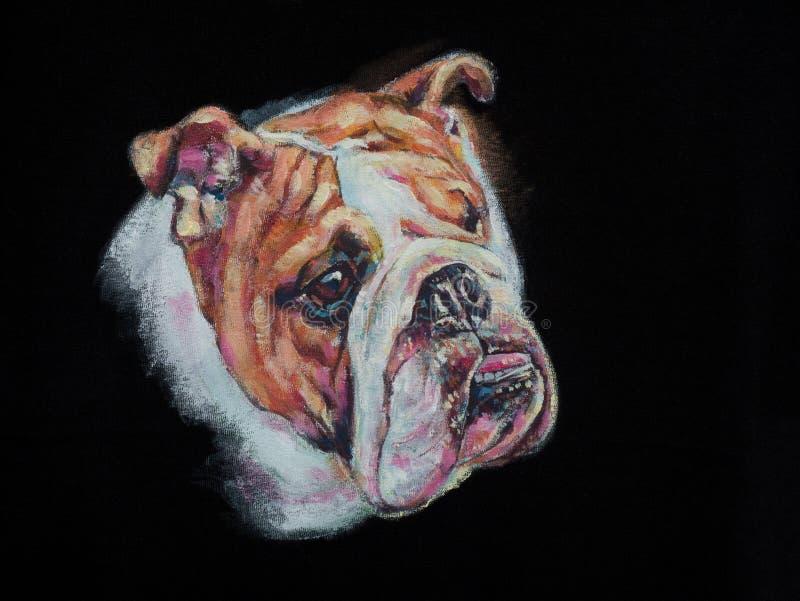 在黑织品的丙烯酸酯的绘画牛头犬 库存例证