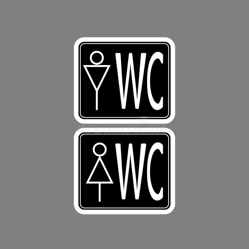 在黑背景、男人和妇女标志的WCtoilet象白色稀薄的线 皇族释放例证