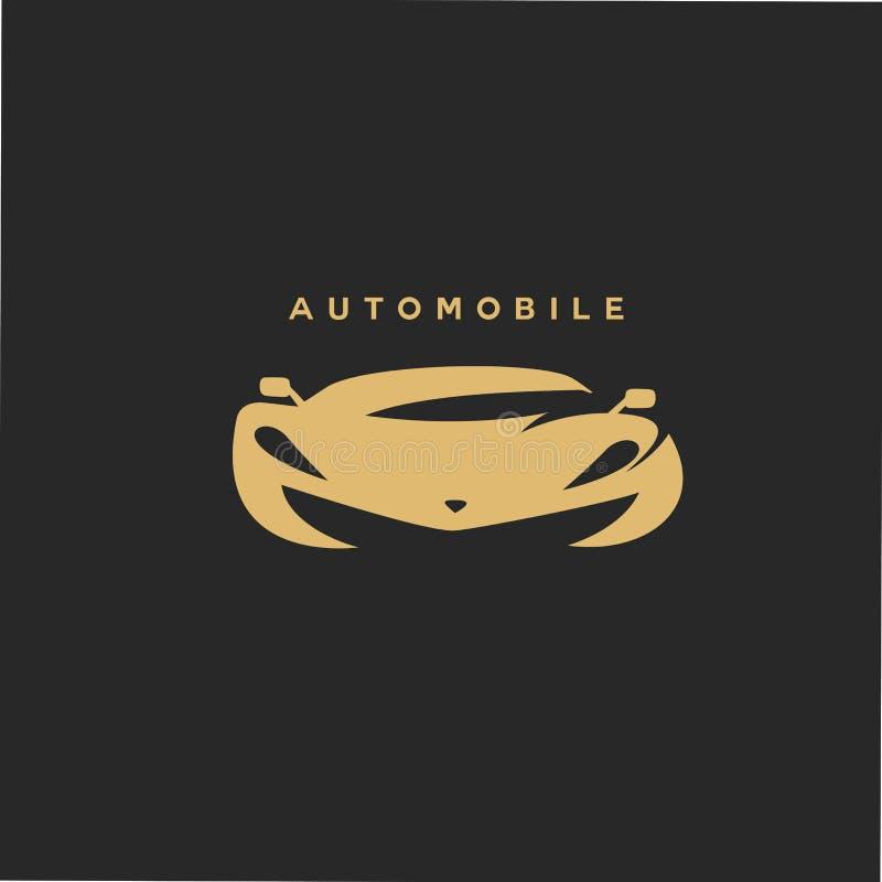 在黑背景传染媒介例证的金黄汽车汽车 库存例证