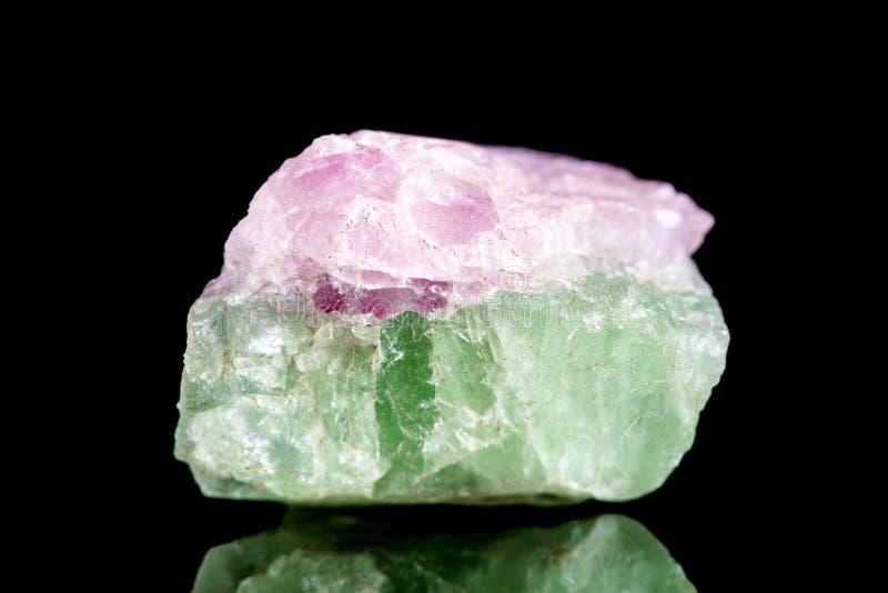 在黑背景前面的未加工的绿色和桃红色电气石矿物石头 免版税库存照片