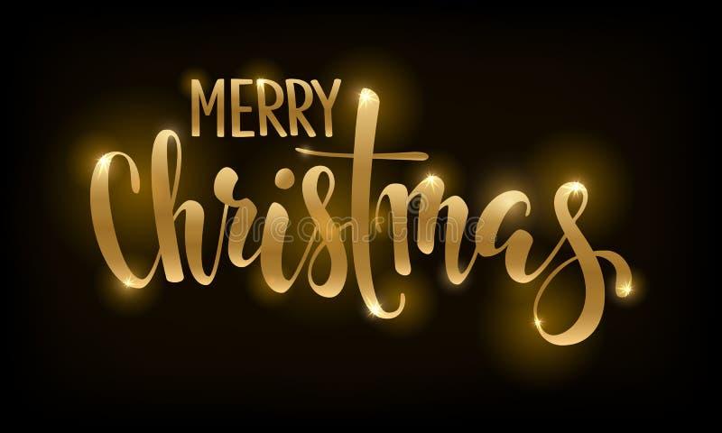 在黑背景圣诞快乐的金黄文本 邀请和贺卡的手拉的字法和邀请  库存例证