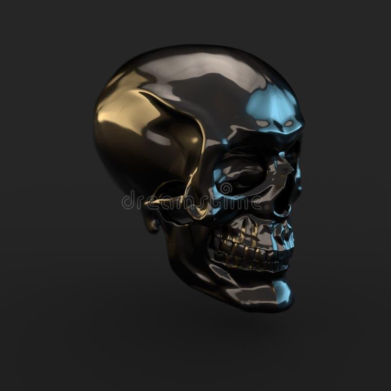 在黑背景有光反射的黑光滑的头骨隔绝的 皇族释放例证