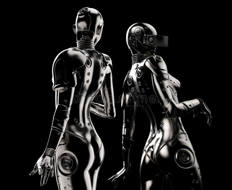 在黑背景的两个时尚机器人 库存例证