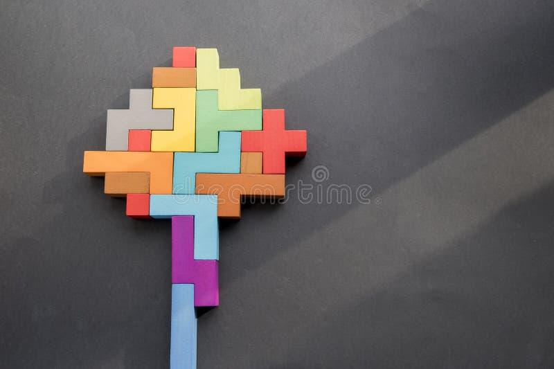 在黑背景的人脑木块 人的几何形状用不同的颜色 概念的创造性,逻辑 免版税库存照片