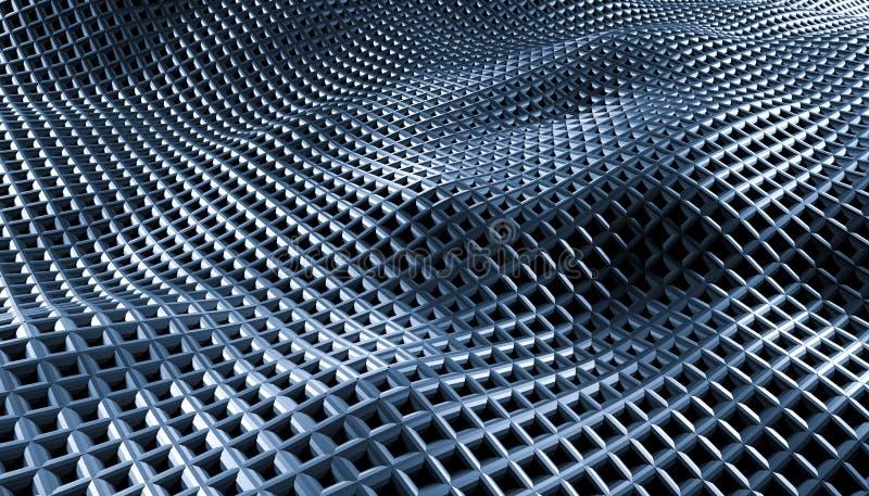 在黑背景的几何抽象栅格波浪 免版税库存图片