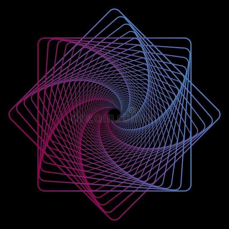 在黑背景的几何线艺术纺织品设计的 创造性的霓虹模板 导航几何背景 数字技术 库存例证