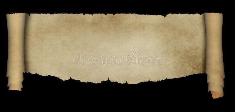 在黑背景的古色古香的羊皮纸纸卷 皇族释放例证