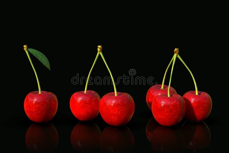 在黑背景的可口看起来的红色樱桃果子 图库摄影