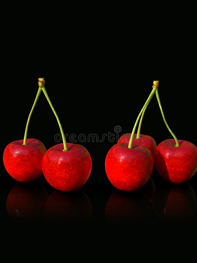 在黑背景的可口看起来的红色樱桃果子 库存图片