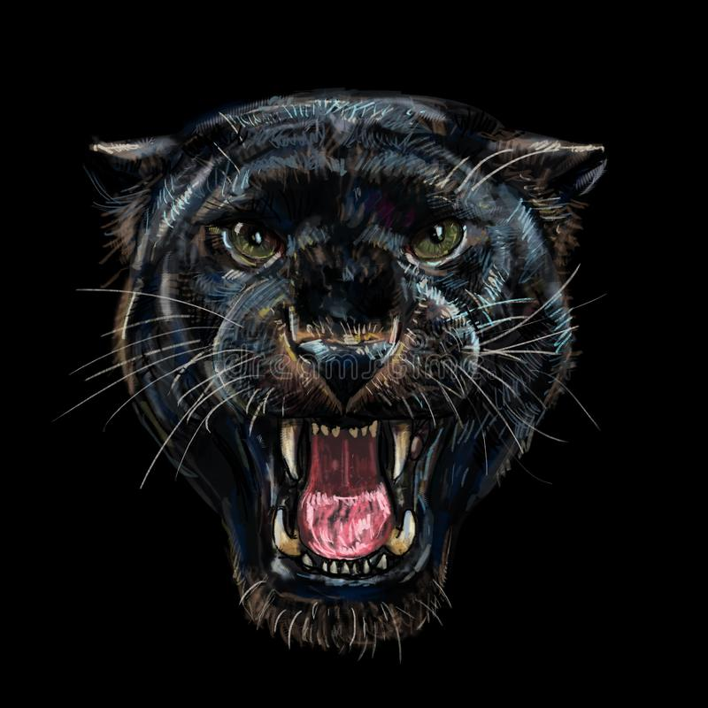 在黑背景的咆哮黑豹 向量例证