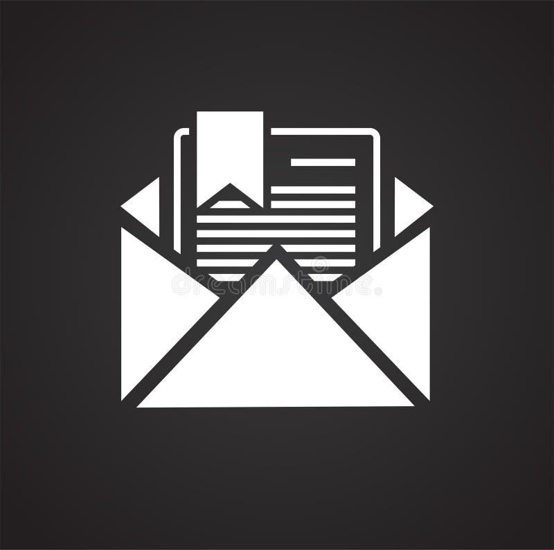 在黑背景的商业文件象图表和网络设计的,现代简单的传染媒介标志 背景蓝色颜色概念互联网 时髦标志 向量例证