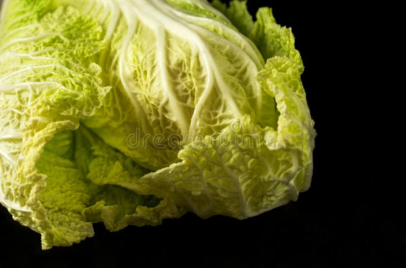 在黑背景的大白菜 免版税库存图片