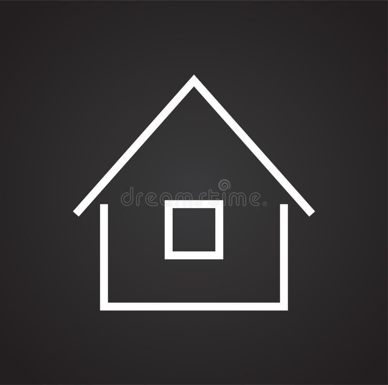 在黑背景的家庭象图表和网络设计的,现代简单的传染媒介标志 背景蓝色颜色概念互联网 网站的时髦标志 库存例证