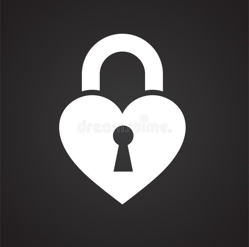 在黑背景的心脏象图表和网络设计的,现代简单的传染媒介标志 背景蓝色颜色概念互联网 网站的时髦标志 库存例证