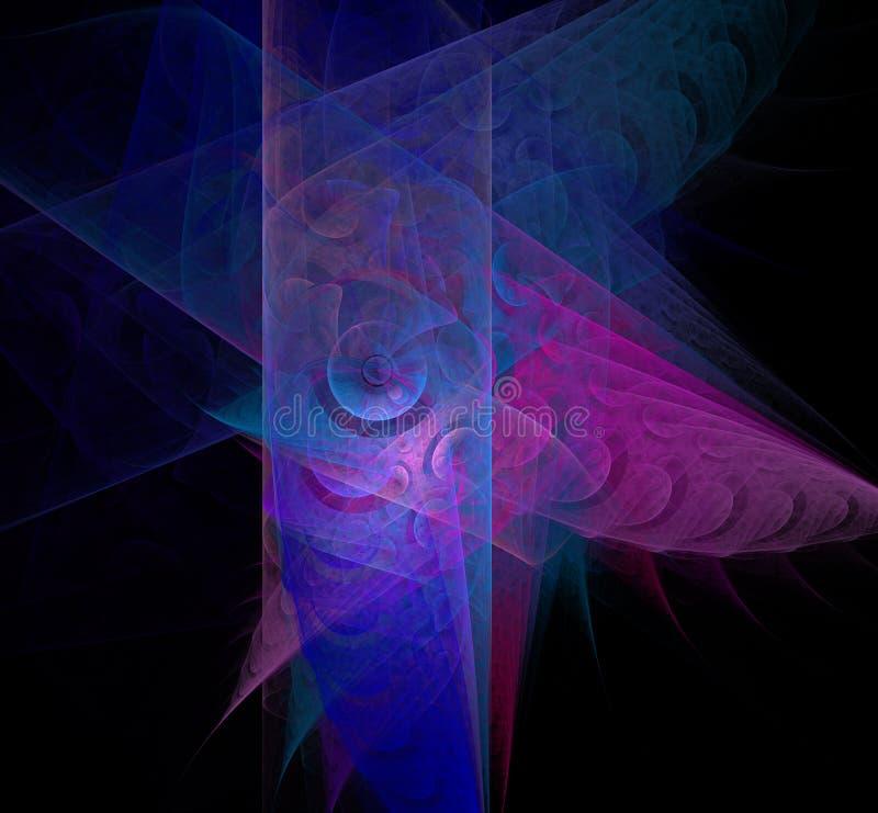 在黑背景的抽象五颜六色的蓝色和紫罗兰色分数维 幻想分数维纹理 abstact艺术深深数字式红色转动 3d翻译 计算机genene 库存例证