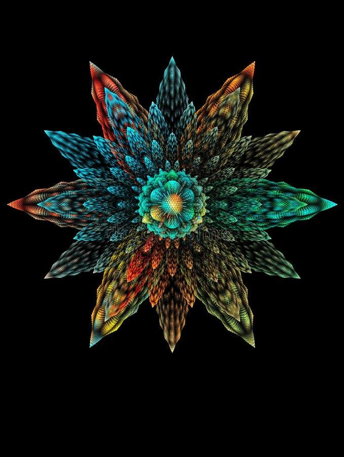 在黑背景的抽象分数维3D意想不到的花 库存例证