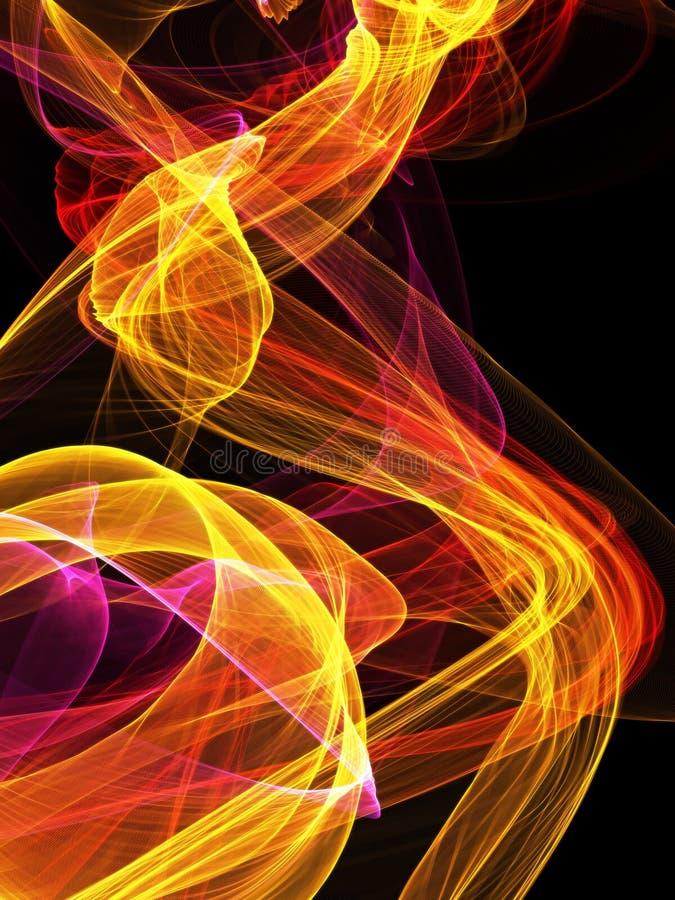 在黑背景的抽象火火焰 皇族释放例证