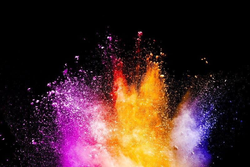 在黑背景的抽象颜色粉末爆炸 库存照片