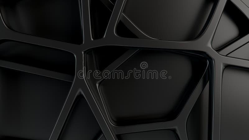 在黑背景的抽象3d花格 库存例证