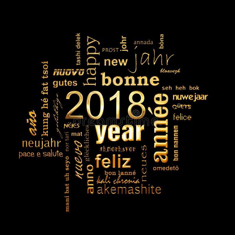 2018在黑背景的新年多语种金黄词云彩正方形贺卡 向量例证