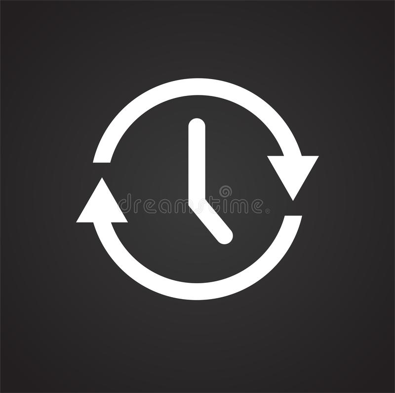 在黑背景的时间管理象图表和网络设计的,现代简单的传染媒介标志 背景蓝色颜色概念互联网 时髦标志 向量例证