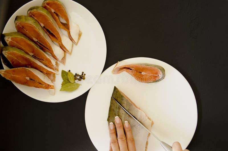 在黑背景的未加工的三文鱼鱼片 图库摄影