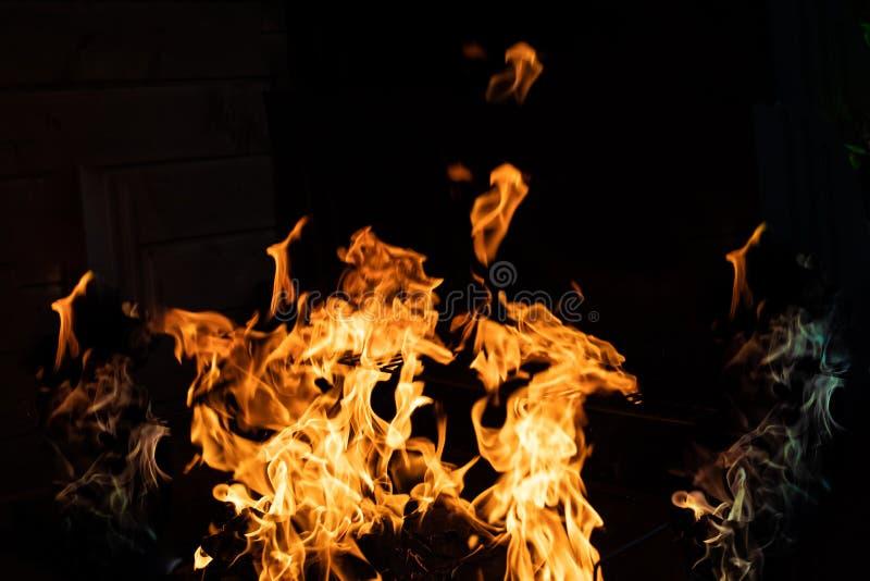 在黑背景的柴火 火火焰在黑背景的 在黑暗的火愤怒 篝火在晚上 火焰是 库存图片
