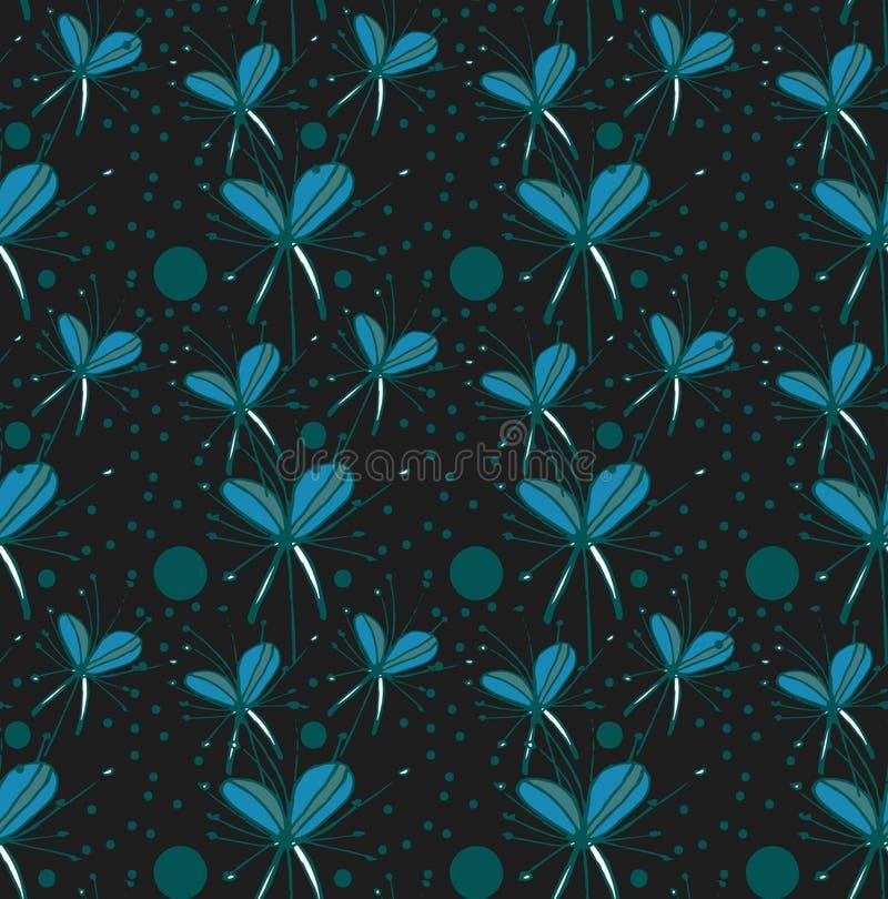 在黑背景的样式绿松石抽象花 向量例证